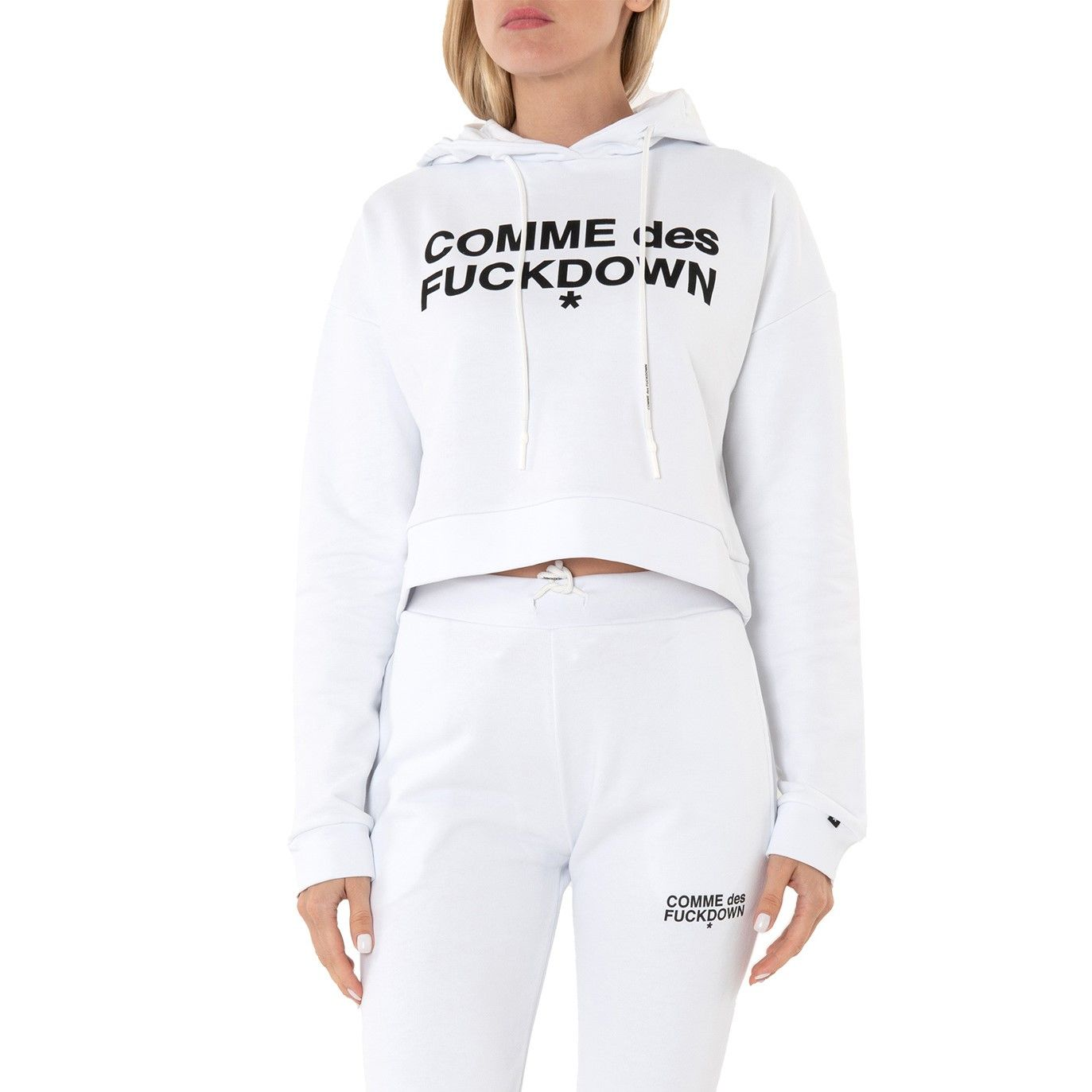 Худи COMME des FUCKDOWN бело-черное