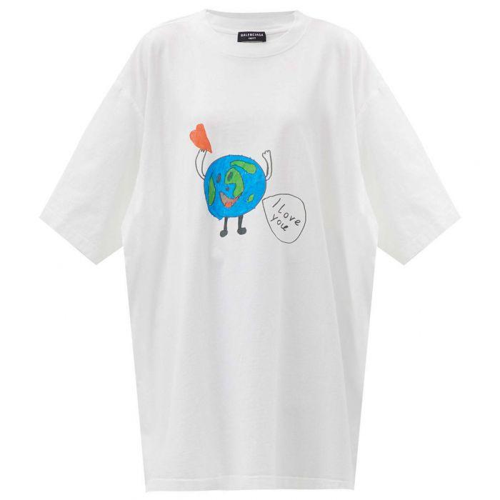 Футболка Balenciaga Love Earth белая