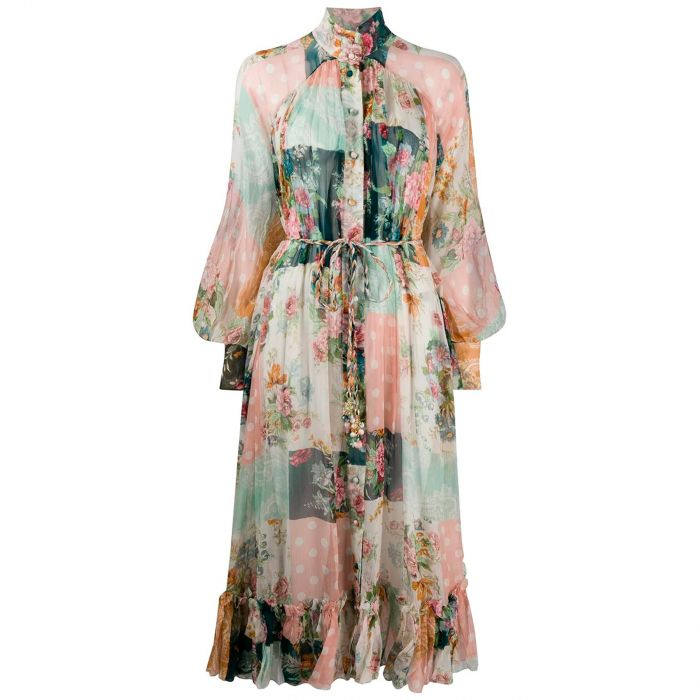 Платье длинное Zimmermann разноцветное