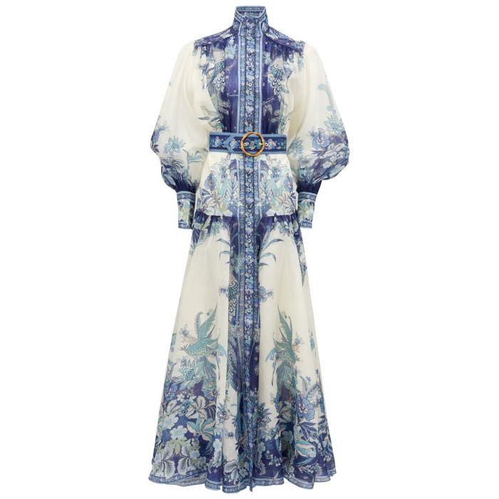 Платье длинное Zimmermann сине-белое