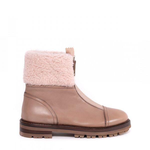 Ботинки флет на меху AGL бежевые