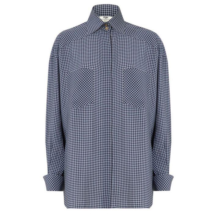 Рубашка с длинными рукавами Fendi синяя