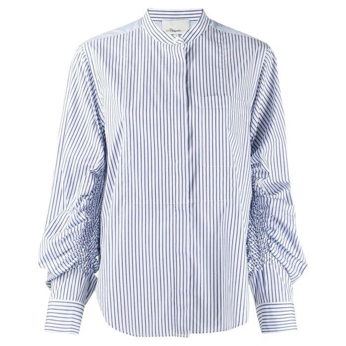 Рубашка длин.рук. 3.1 Phillip Lim бело-синяя