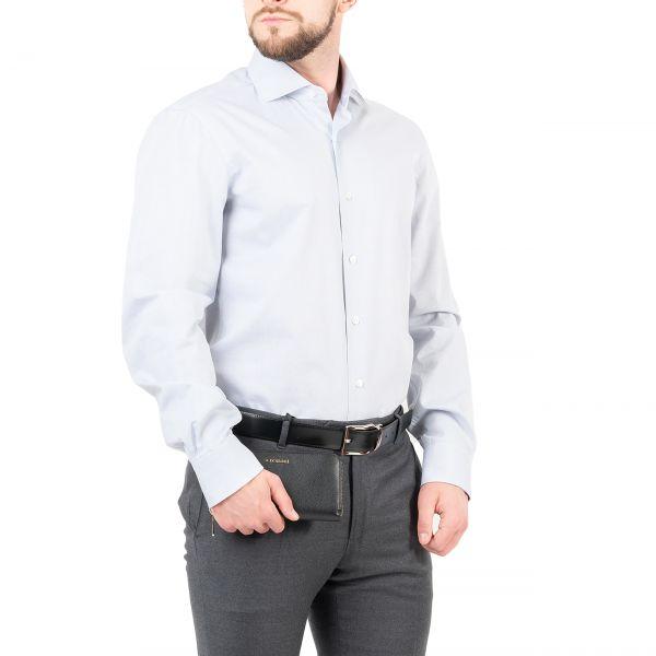 Рубашка с длинными рукавами Barba Napoli серо-голубая
