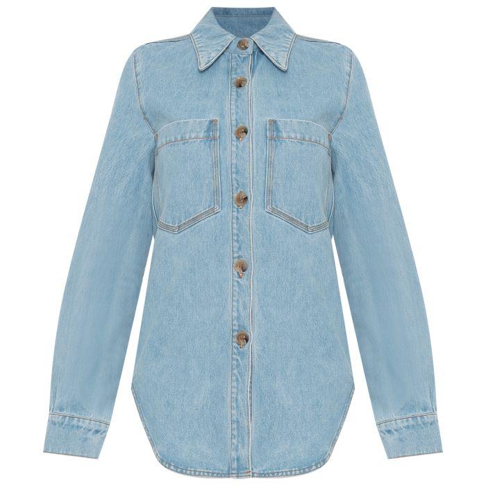 Рубашка с длинными рукавами Nanushka Seint голубая