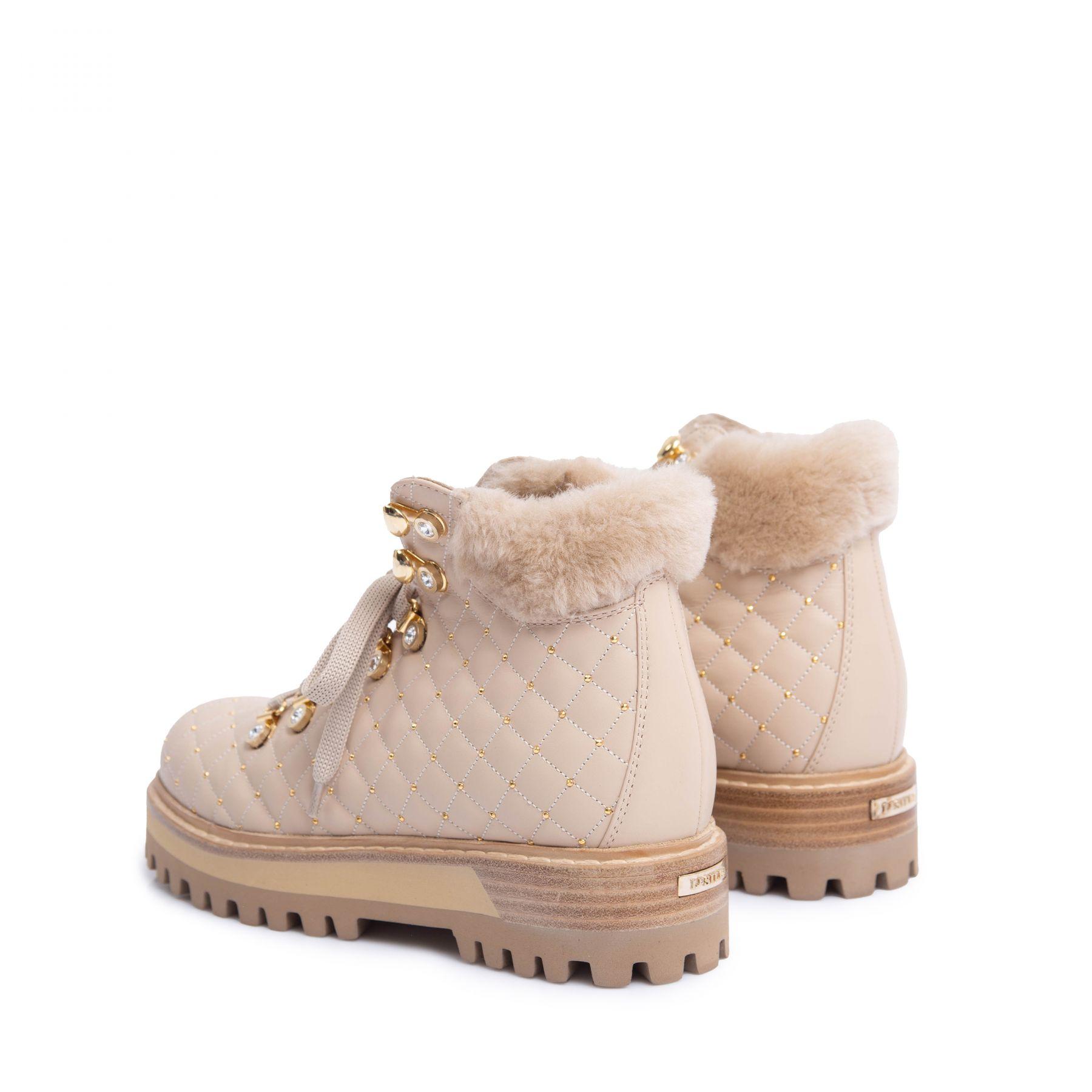 Ботинки флет на меху Le Silla бежевые