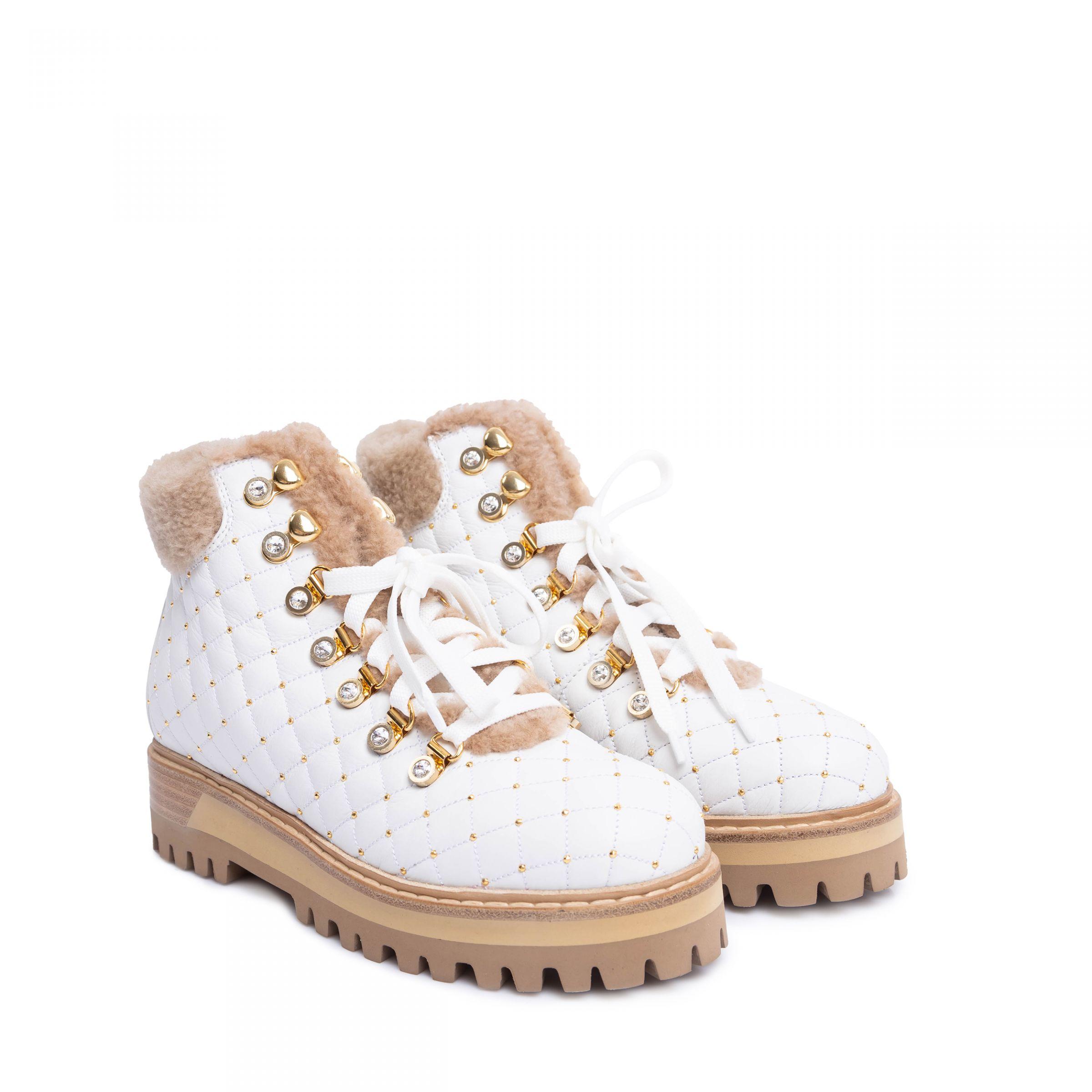 Ботинки флет на меху Le Silla белые