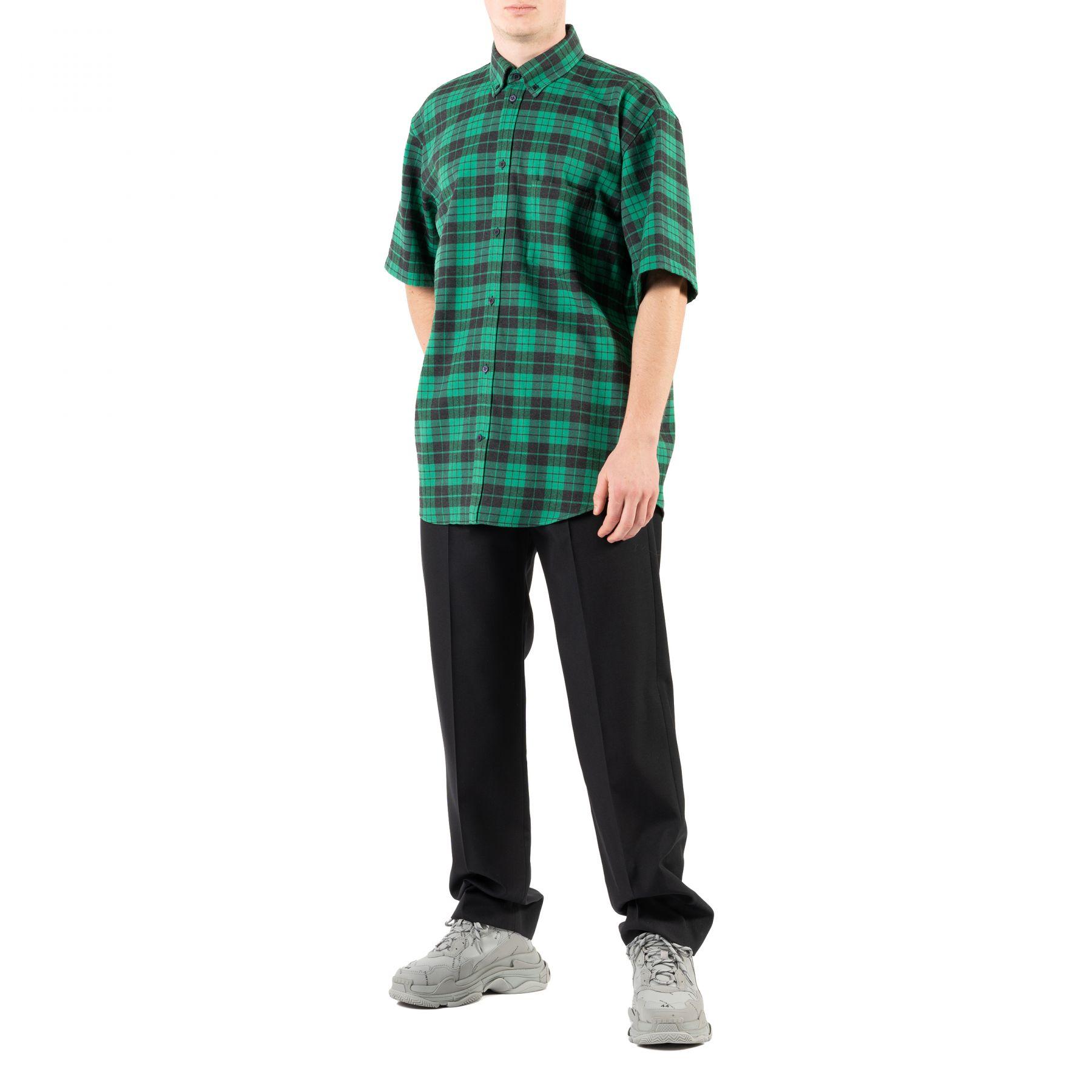 Рубашка с короткими рукавами Balenciaga зеленая