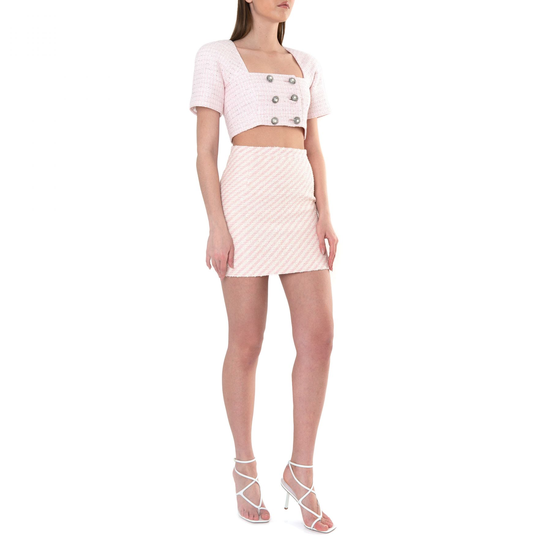Юбка Alessandra Rich розово-белая
