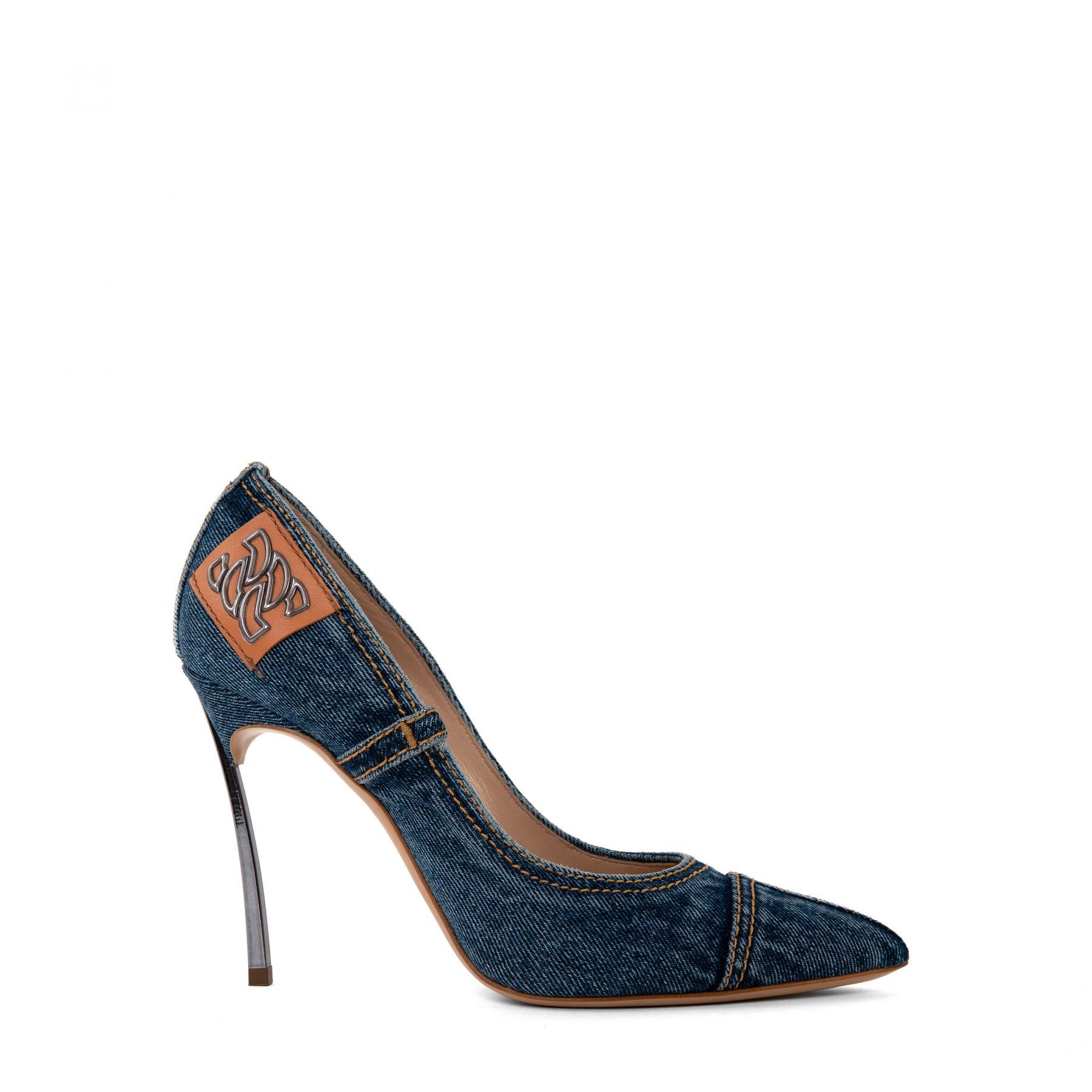 Туфли Casadei Blade Jeans синие