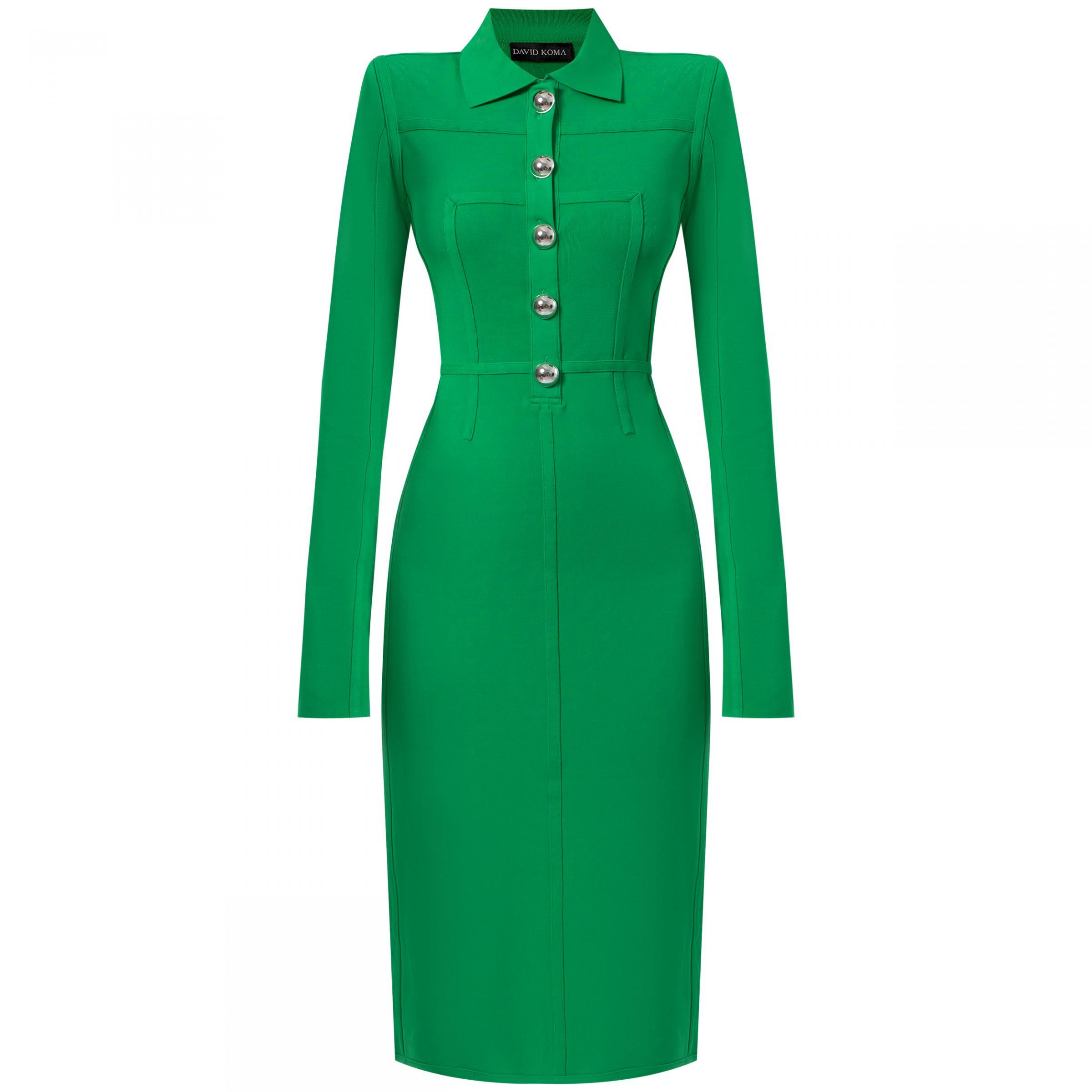 Платье David Koma зеленое
